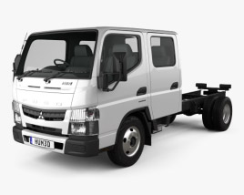 3D model of Mitsubishi Fuso Canter (515) City Crew Cab Chassis Truck 2016