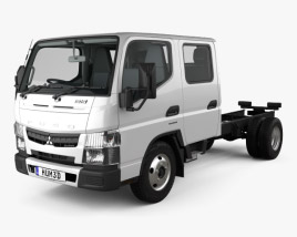 3D model of Mitsubishi Fuso Canter (515) City Crew Cab Chassis Truck with HQ interior 2016