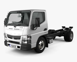3D model of Mitsubishi Fuso Canter (515) City Single Cab Low Roof Chassis Truck with HQ interior 2016