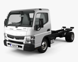 3D model of Mitsubishi Fuso Canter (515) Wide Single Cab Chassis Truck with HQ interior 2016
