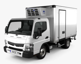 3D model of Mitsubishi Fuso Canter (515) Wide Single Cab Refrigerator Truck 2016