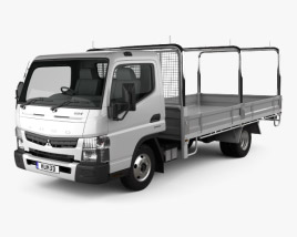 3D model of Mitsubishi Fuso Canter (515) Wide Single Cab Tray Truck 2016