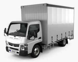 3D model of Mitsubishi Fuso Canter (615) Wide Single Cab Curtain Sider Truck 2016