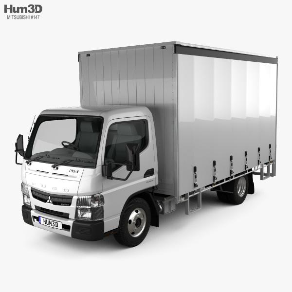 Mitsubishi Fuso Canter (615) Wide Single Cab Curtain Sider Truck 2016 3D model