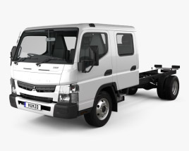 3D model of Mitsubishi Fuso Canter (815) Wide Crew Cab Chassis Truck with HQ interior 2016