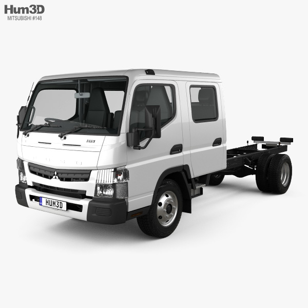 Mitsubishi Fuso Canter (815) Wide Crew Cab Chassis Truck with HQ interior 2016 3D model