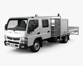 3D model of Mitsubishi Fuso Canter (815) Wide Crew Cab Service Truck 2016