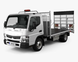 3D model of Mitsubishi Fuso Canter (815) Wide Single Cab Tilt Tray Beaver Tail Truck 2016
