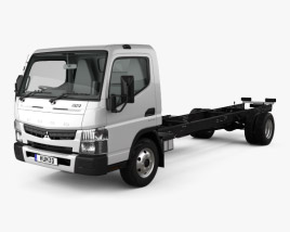 3D model of Mitsubishi Fuso Canter (918) Wide Single Cab Chassis Truck with HQ interior 2016