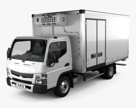 3D model of Mitsubishi Fuso Canter (918) Wide Single Cab Refrigerator Truck 2016