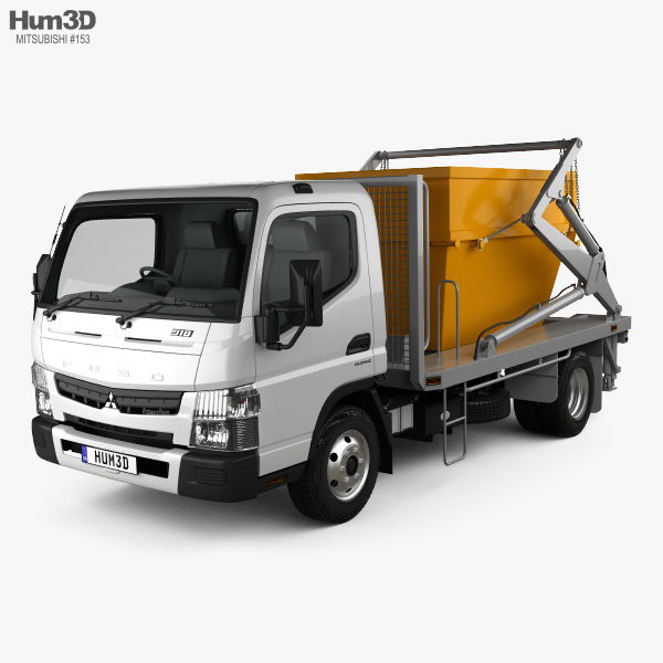 3D model of Mitsubishi Fuso Canter (918) Wide Single Cab Skip Bin Truck 2016