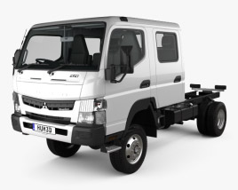 3D model of Mitsubishi Fuso Canter (FG) Wide Crew Cab Chassis Truck with HQ interior 2016