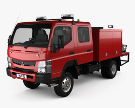 3D model of Mitsubishi Fuso Canter (FG) Wide Crew Cab Fire Truck 2016