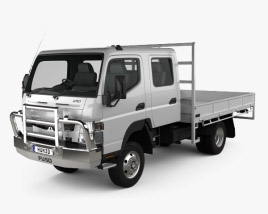 3D model of Mitsubishi Fuso Canter (FG) Wide Crew Cab Tray Truck 2016