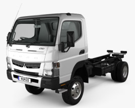 3D model of Mitsubishi Fuso Canter (FG) Wide Single Cab Chassis Truck with HQ interior 2016