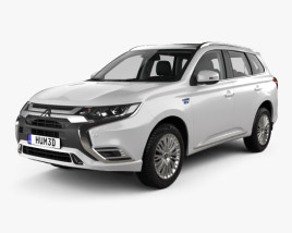 3D model of Mitsubishi Outlander PHEV with HQ interior 2018