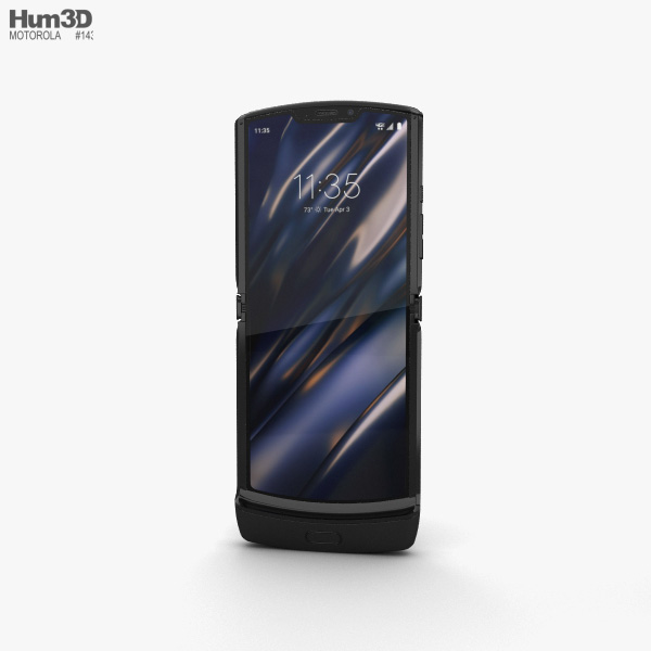 3D model of Motorola Razr Noir Black 2019