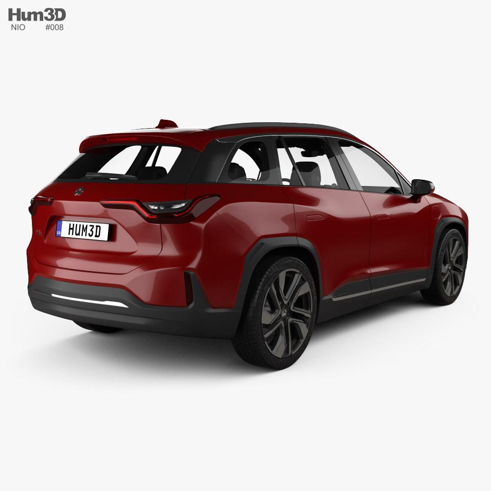 NIO ES6 with HQ interior 2019 3d model back view
