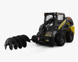 3D model of New Holland L225 Skid Steer Auger 2017