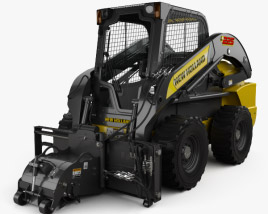 3D model of New Holland L225 Skid Steer Cold Planer 2017