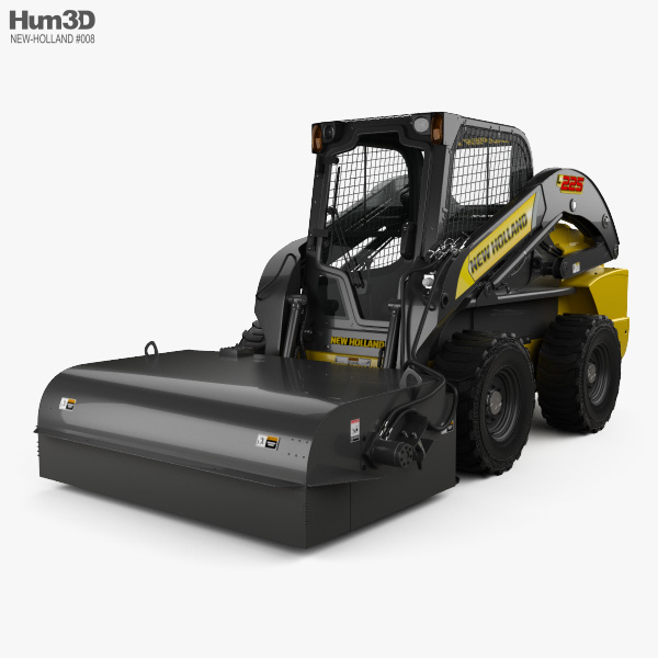 New Holland L225 Skid Steer Sweeper 2017 3D model