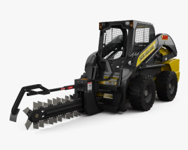3D model of New Holland L225 Skid Steer Trencher 2017