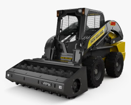 3D model of New Holland L225 Skid Steer Vibratory Roller 2017