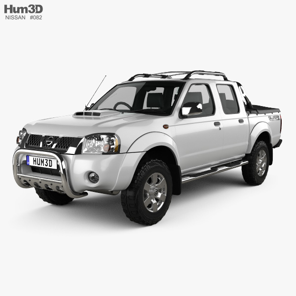 3D model of Nissan Navara (NP300) Double Cab Hardbody Silver 2013