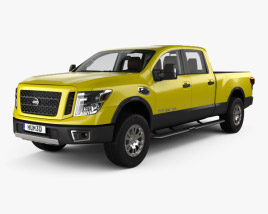 3D model of Nissan Titan Crew Cab XD Pro 4X with HQ interior 2016