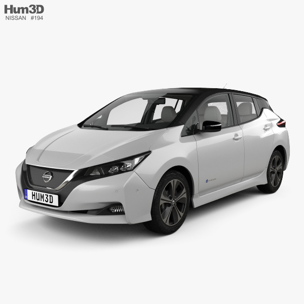 3D model of Nissan Leaf with HQ interior 2018