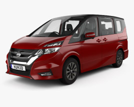 3D model of Nissan Serena Highway Star with HQ interior 2016