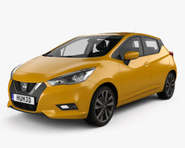 3D model of Nissan Micra with HQ interior and engine 2016