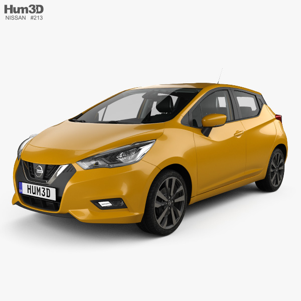 Nissan Micra with HQ interior and engine 2016 3D model