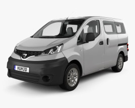 3D model of Nissan NV200 combi with HQ interior 2011