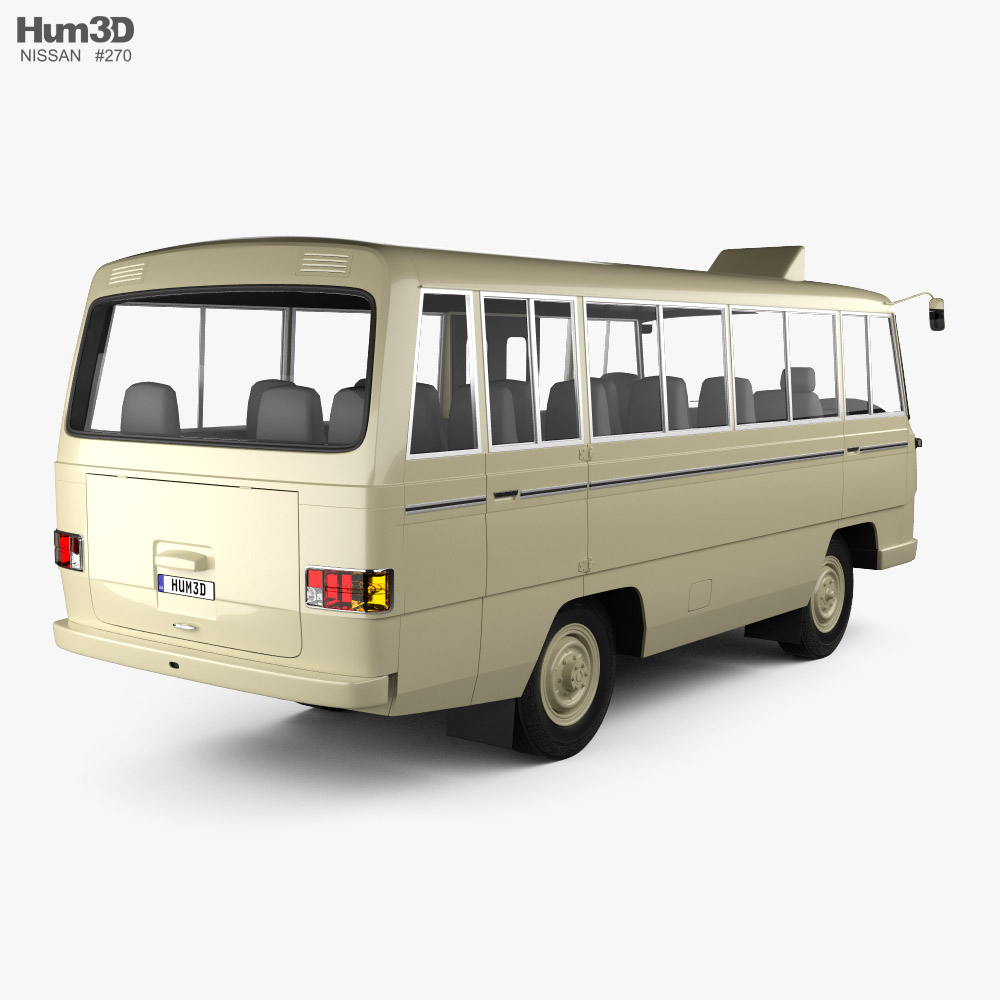 Nissan Echo bus 1969 3d model back view