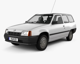 3D model of Opel Kadett E Caravan 3-door 1984-1991