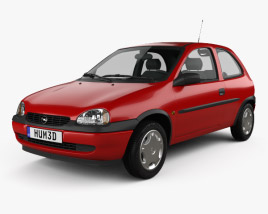3D model of Opel Corsa (B) 3-door hatchback 1998