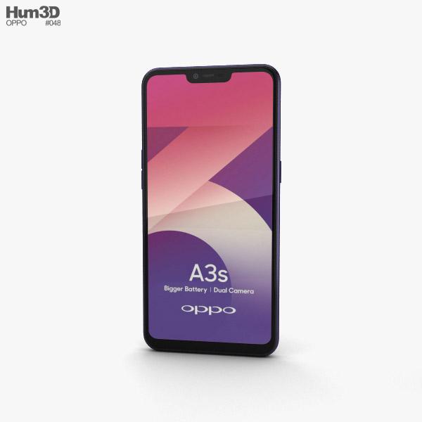 3D model of Oppo A3s Dark Purple