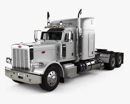 3D model of Peterbilt 388 Sleeper Cab Tractor Truck 2013