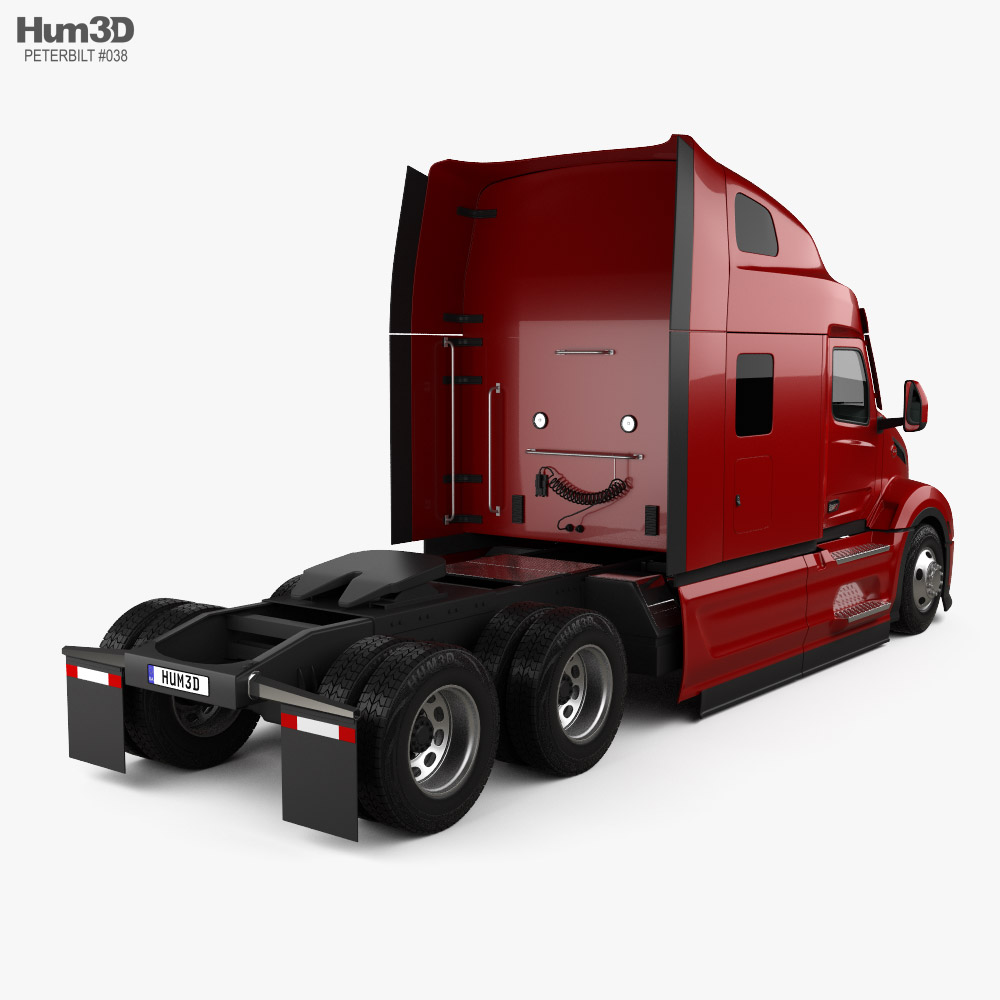 Peterbilt 579 Sleeper Cab Tractor Truck 2021 3d model back view