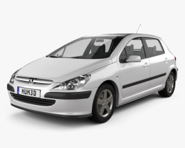 3D model of Peugeot 307 5-door hatchback 2001