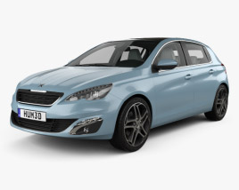 3D model of Peugeot 308 hatchback with HQ interior 2014