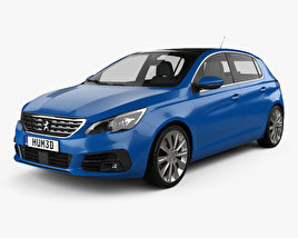 3D model of Peugeot 308 hatchback 2017