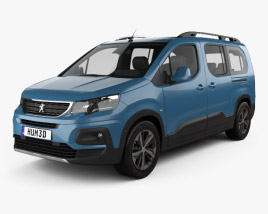 3D model of Peugeot Rifter Long 2018