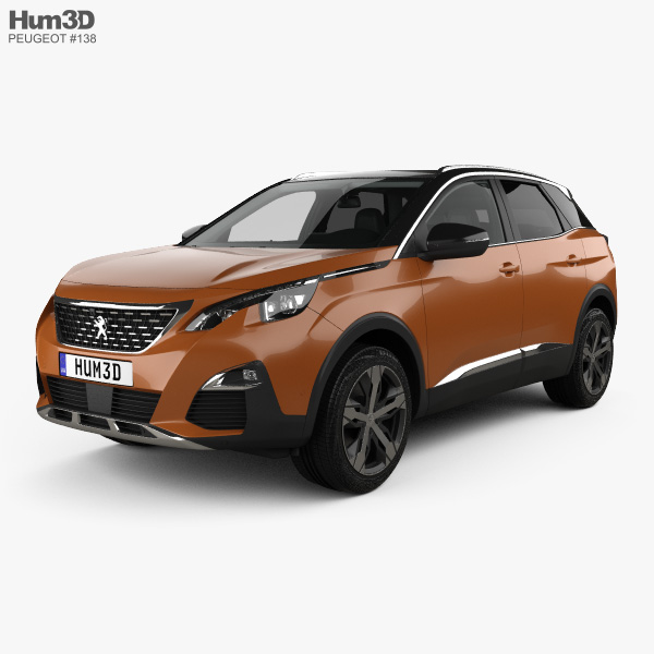 3D model of Peugeot 3008 with HQ interior 2016