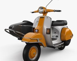 3D model of Piaggio Vespa PX 200 Sidecar 1998