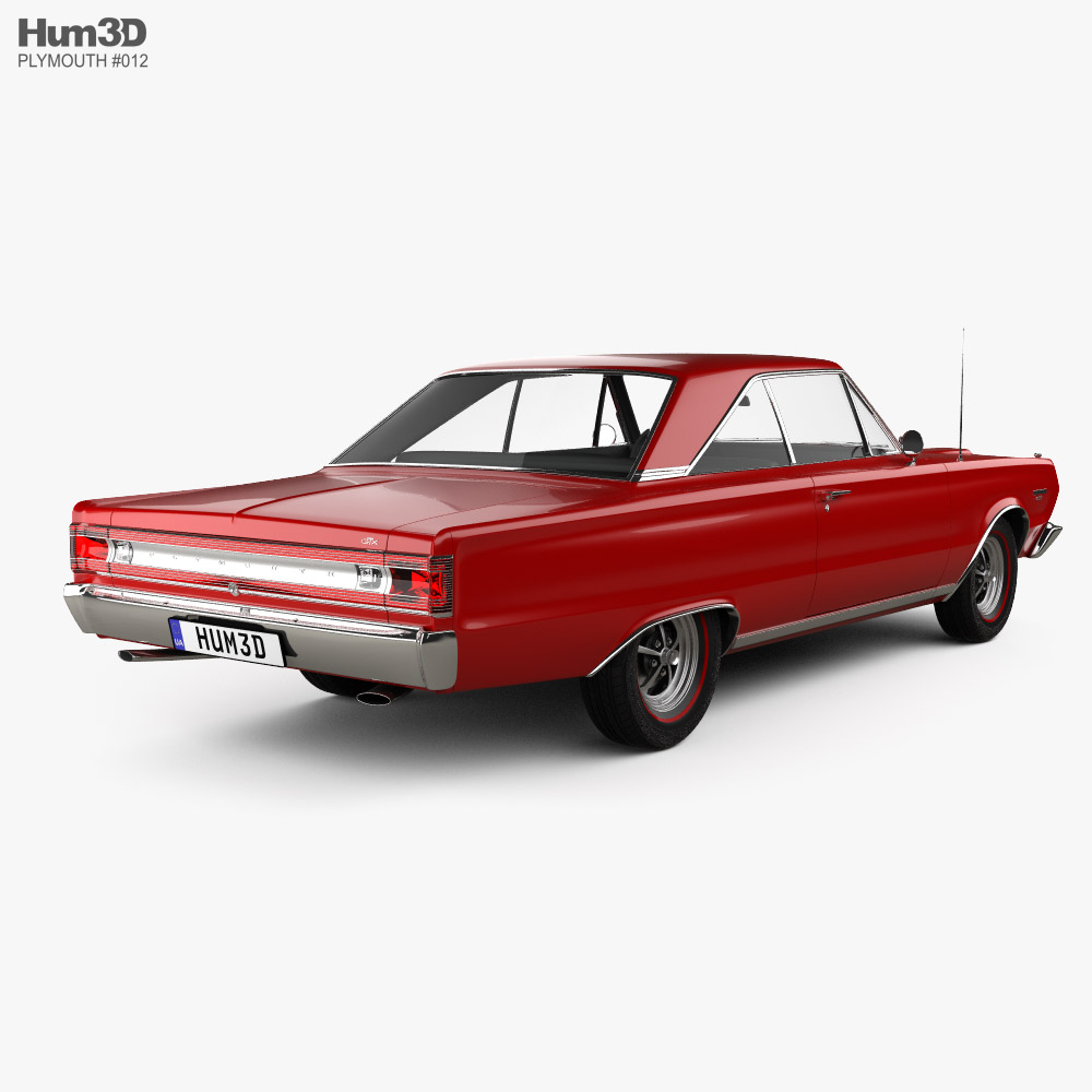 Plymouth Belvedere GTX coupe 1967 3d model back view