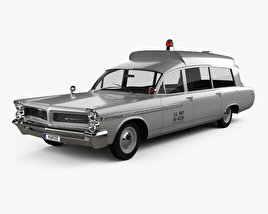 3D model of Pontiac Bonneville Station Wagon Ambulance Kennedy 1963