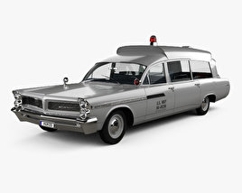 3D model of Pontiac Bonneville Station Wagon Ambulance Kennedy with HQ interior 1963