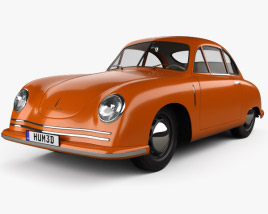 Porsche 356 coupe with HQ interior 1948 3D model
